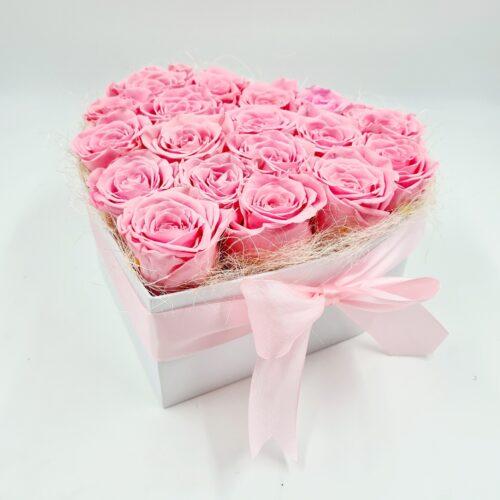 trvacne ružove ruže srdcovy box